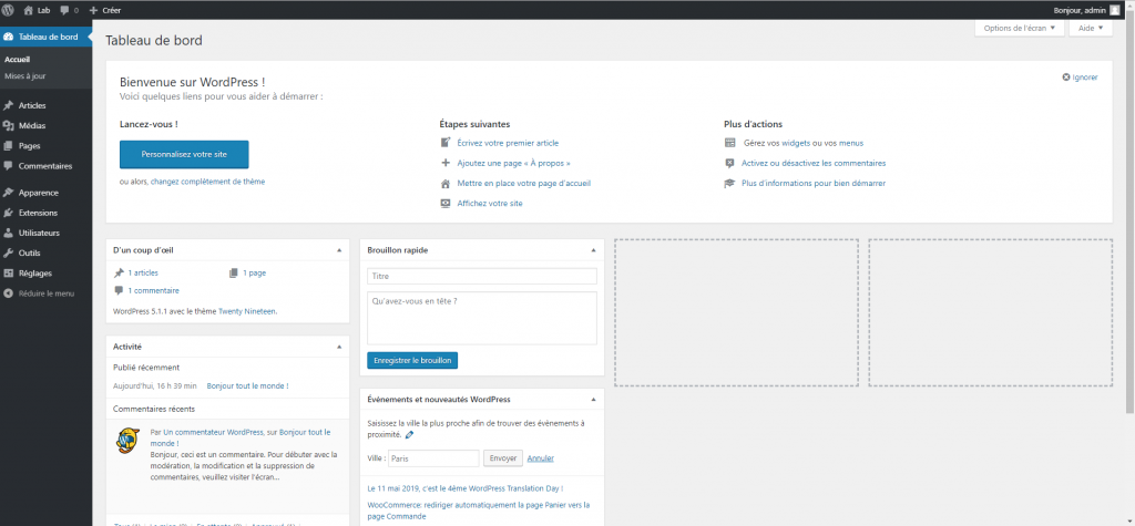 Interface WordPress